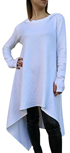 IF FEEL Loong Sleeves Casual Irregular Cowl Neckm BlouseTop For Women ((US 14-16)XL, White)