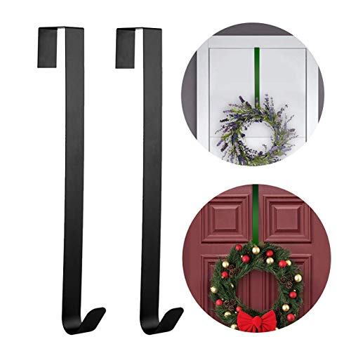 Wreath Hanger Over The Door,Christmas Wreath Hanger for Front Door,Free Moving Adjustable Metal Hook,The Also Suitable for Bedrooms,Bathroom Hanging Clothes,Towels (15