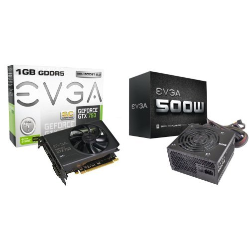 EVGA  GeForce GTX 750 Superclocked 1GB GDDR5 128bit Graphics Card and EVGA 500W 80PLUS Certified Power Supply