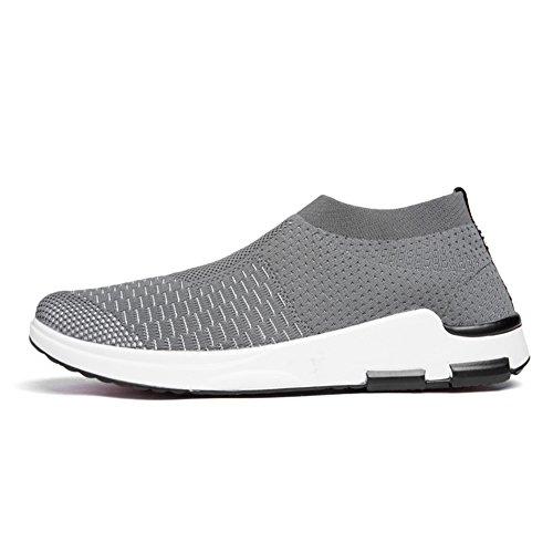 YALOX Männer leichte atmungsaktive Laufschuhe athletische Turnschuhe Mode lässig zu Fuß Slip auf Schuhe Dunkelgrau-3