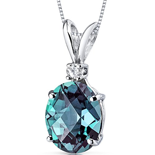 14 Karat White Gold Oval Shape 3.25 Carats Created Alexandrite Diamond Pendant - Lab Brilliant Alexandrite Pendant