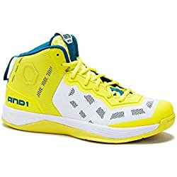 AND1 Mens Fantom Basketball Shoe 8.5 Blue-Coral/Yellow
