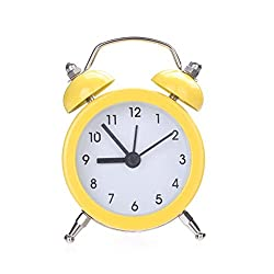 Yeefant Twin Bell Silent Alloy Bed Compact Quartz Clock Cute Portable Stainless Metal Student Classic Clock Decor for Living Room Bedroom,Yellow