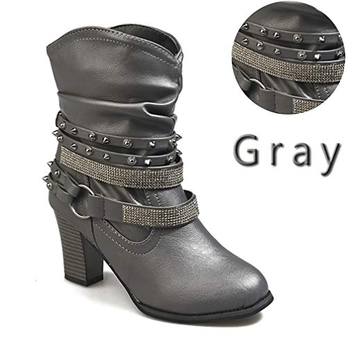 Shiekh Girl - Girls Chaussure Vintage Buckle Leather Square Chunky High Heels Ankle Boots Bling Big Size Rivet Boots Grey