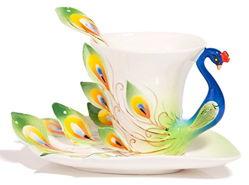 Graceful Porcelain - Coffee Cup,Hand Crafted Porcelain Enamel Graceful Peacock Tea Coffee Cup Set with Saucer and Spoon, Green By Angel's Wings