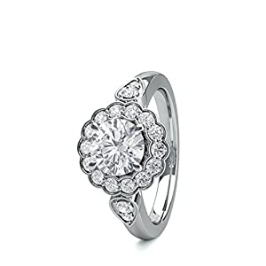 18K White Gold 4 Prong Setting Side Stone Halo Engagement Ring Size - 8.25