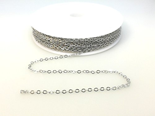 (BeadsAndCrafts 32 Feet Pack, 7 Colors Available, Small Link Chain 2.1x1.7mm Dangling Chain, Antique Silver Plated Brass )