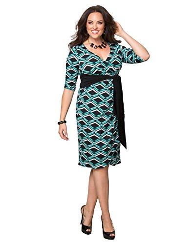 Kiyonna Women's Plus Size Printed Harlow Faux Wrap Dress 3x Geo Deco Print