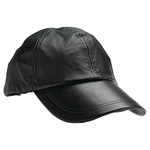Mens Baseball Cap Genuine Leather Adjustable Size Solid Black Sport Hat Ball (Solid Genuine Leather Baseball Cap)