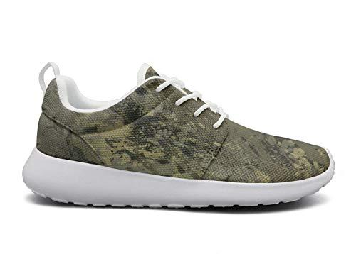 (Juiertjko Man Lace-Up Mesh Custom Cushion Green Camouflage Camo Army Walking Track Running Shoes Sneakers )