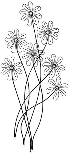 Deco 79 64650 Modern Metal and Acrylic Floral Wall Decor, 40 H x 1 L, Polished Black Finish