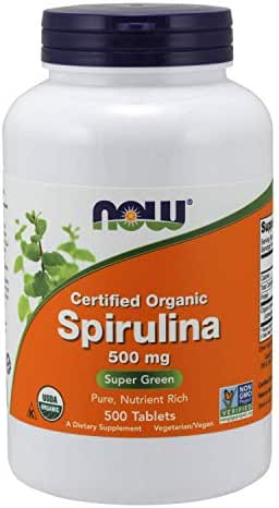 NOW Foods Spirulina 500mg Organic Nutrient Rich Superfood- 500 Tablet