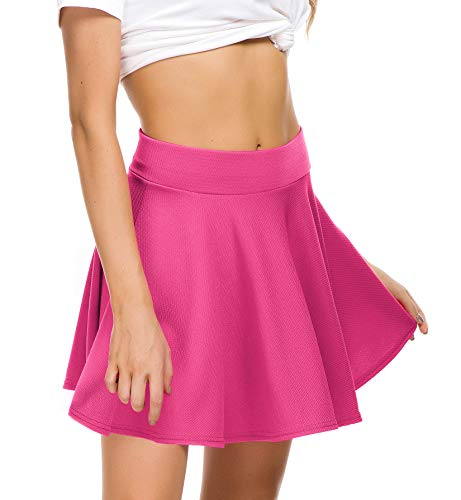 EXCHIC Women Stretch Waist Flared Mini Skater Skirt Casual Pleated Skirts (M, Rose)