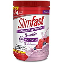 SlimFast – Advanced Nutrition High Protein Smoothie Powder – Meal Replacement – Mixed Berry Yogurt – Great Taste – Great for Recipes – 11 oz. Canister