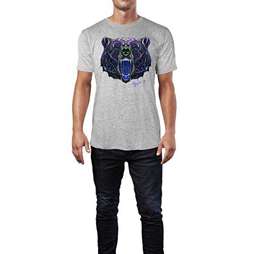 SINUS ART ® Gemusterter Bärenkopf im Ethno Stil Herren T-Shirts in hellgrau Fun Shirt mit tollen Aufdruck