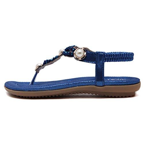 Beach Lisianthus002 planas Blue Sandalias con elástica bohemia para mujer perla para Summer 4v4xq6A