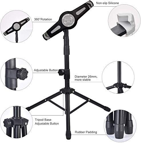 IPad Tripod Stand, Foldable Floor Tablet Stand, Height Adjustable 20 to 60 Inch with 360° Rotating Holder for iPad Pro, iPad Air, iPad 1,2,3,4 and More 9.5 to14.5 Inch Tablets, Carrying Case
