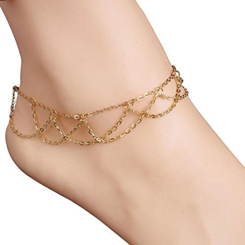 "Set Bare Sheer (Sinfu® Anklet For 1PC Wavy Fringed Anklets Beach Jewelry Barefoot Sandal Link Mesh Tassel Chain Charm Ankle Bracelets (Size:21.5cm+5cm/8.5""+2.0"", Gold))"