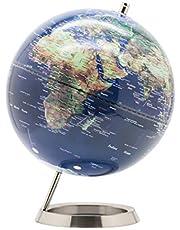 Exerz 25cm World Globe - RVS Ring Staand, Verpakking in premier Kraft Box, Perfect om cadeau te geven - Metallic kleur