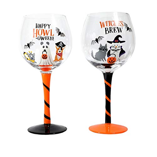 Cat and Dog Halloween Costume Themed Wine Glasses, Set of 2]()