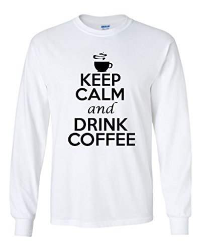 (Long Sleeve Adult T-Shirt Keep Calm and Drink Coffee Caffeine Humor (XXXXX Large, White w/ Black))