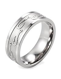 SHARDON Men's 8mm Titanium Ring with Embossed Fishhooks