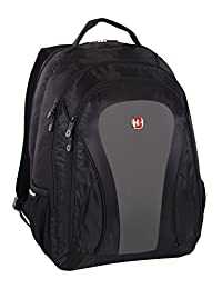 Swiss Gear 15.6-Inch Laptop Bag with Multi Compartments Including Charging Pocket, Black Grey, Under Seat