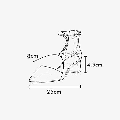 Farbe Schuhe Frauen Mode größe Sommer High Schwarz YQQ Riemchensandalen Schuhe Mädchen Schuhe 5 Heels Schwarz UK5 Dame Gemütlich Weibliche Spitz Einzelne EU38 0qBZF