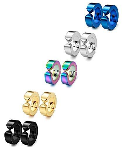 Joriva Stainless Steel Small Hoop Earring For Women Men Clip On Earrings Non-Piercing 1-5 Pairs by Joriva