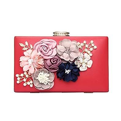 Women's Satin Flower Evening Clutch Bags Pearl Beaded Evening Handbag For Prom Bride Wedding