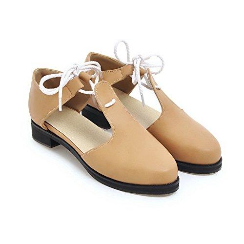 BalaMasa Womens Sandals Closed-Toe Huarache Smooth Leather Urethane Sandals ASL04475 Camel s1oMl