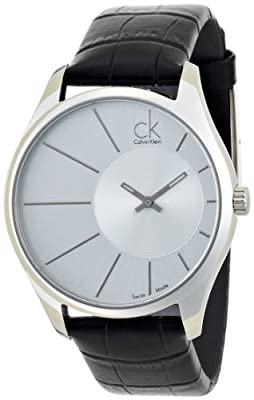 Calvin Klein Men's 'Deluxe' Swiss Quartz Stainless Steel and Leather Automatic Watch, Color:Black (Model: K0S21120)