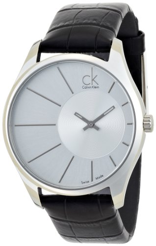Calvin Klein Men's 'Deluxe' Swiss Quartz Stainless Steel and Leather Casual Watch, Color:Black (Model: - Klein Calvin Glasses Reading Case