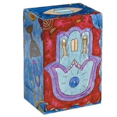 Hamsah-Motifs-and-Designs-Hand-Painted-Wooden-Rectangular-Tzedakah-Charity-Box-by-Yair-Emanuel