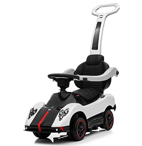 SG2D Electric Kids Stroller Push Car, Licensed Pagani Multi Function 6V Kids Drive-able Ride on White