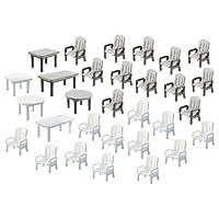 Faller F180439 H0 - 6 Tavoli e 24 Sedie da Giardino, Colori Bianco e Grigio