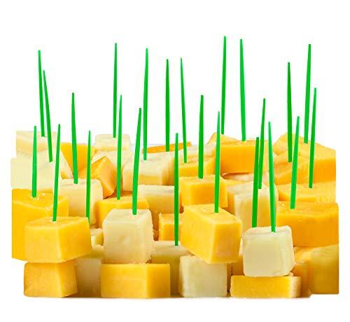 Green Toothpicks, 300 Small Green Plastic Food Picks, 2.5