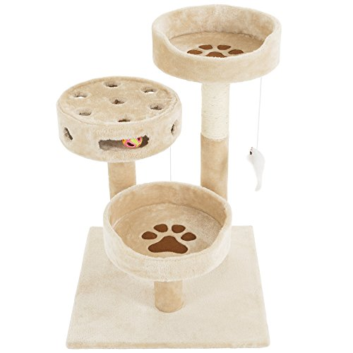 PETMAKER Cat Tree 3 Tier 2 Hanging Toys A 3 Ball Play Area and Scratching Post, 27.5'', Tan by PETMAKER (Image #5)