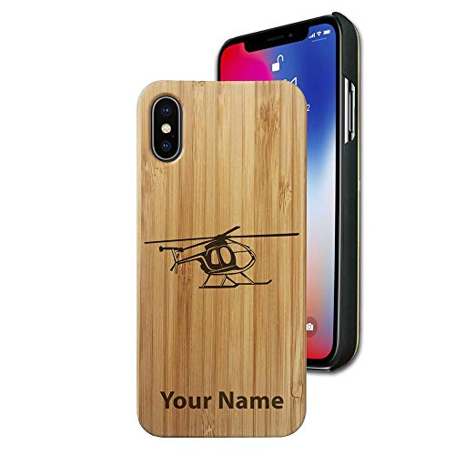 (Bamboo case Compatible with iPhone Xs Max, Helicopter 1, Personalized Engraving Included)