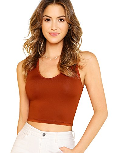 Womens Scoop Neck Knit (SheIn Women's Basic Scoop Neck Crop Stretchy Slim Fit Knit Tank Top Orange Small)