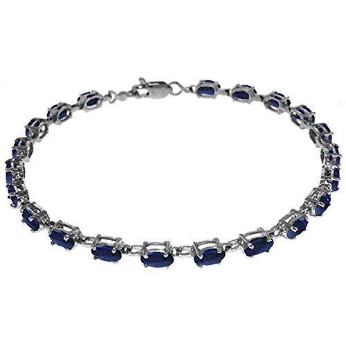 Green Sapphire Natural (Galaxy Gold 8 CTW 14K Solid White Gold Tennis Bracelet Natural Sapphire)
