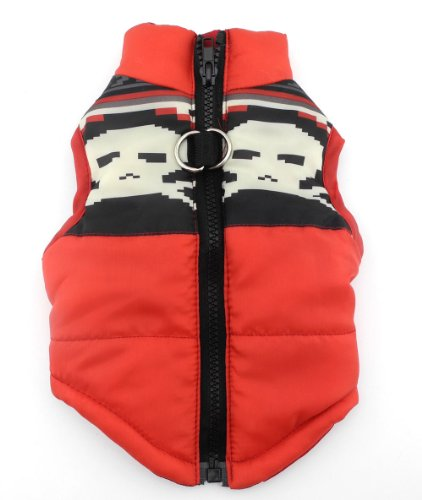 (New Various Pet Cat Dog Soft Padded Vest Harness Small Dog Clothes Red Skull S)