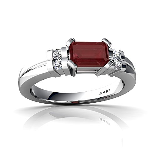 14kt White Gold Ruby and Diamond 6x4mm Emerald_Cut Art Deco Ring - Size 7