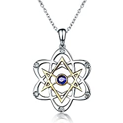 White Gold Natural Blue Sapphire Diamond Necklace Pendant