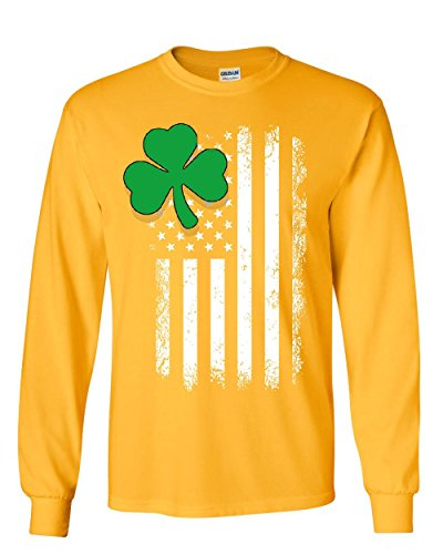 - Shamrock Flag Stars and Stripes Long Sleeve T-Shirt Irish St. Patrick's Day Tee Yellow L