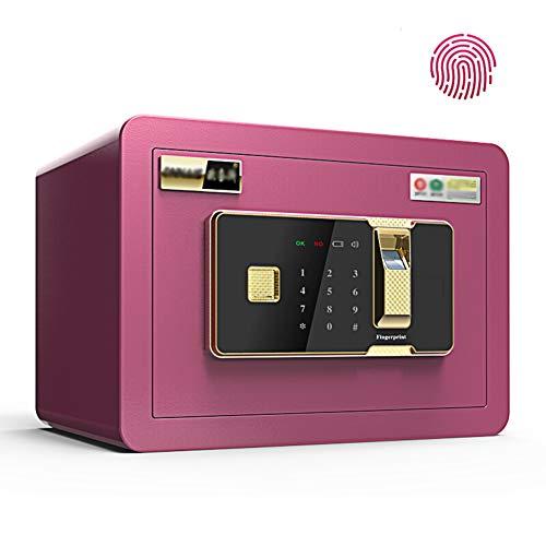 Electronic Digital Security Safe Box,35x25x25cm Biometric Fingerprint Home Steel Safe,LED Display,for Office Hotel Jewelry Gun Cash Medication,Pink