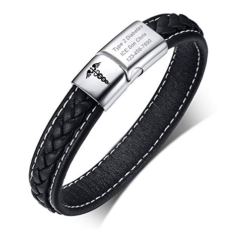 VNOX Free Engraving-Medical Caduceus Symbol 2 Tone Braided Genuine Leather Magnetic Cuff Bracelet,8.3
