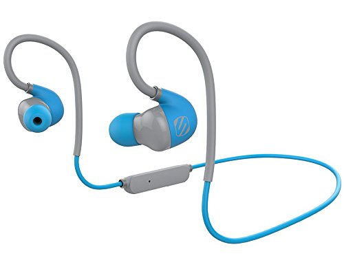 - SCOSCHE SportFlex AIR Bluetooth Running Earbuds with Microphone and Controls - Splashproof and Sweatproof IPX4 Rated Wireless Sport Headphones with Multiple Size Antimicrobial Silicone Ear Bud Inserts - Blue (HFBT300BL)