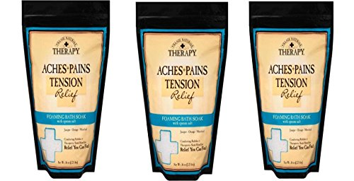Village Naturals Therapy Aches and Pains Foaming Bath Soak 36 Oz. 3 Pack (Tension)