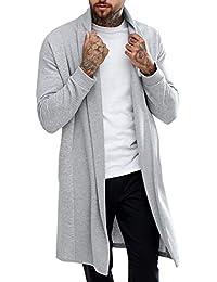 Men's Shawl Casual Cardigan Long Sleeve Drape Cape Lightweight Open Front Long Length Cardigan